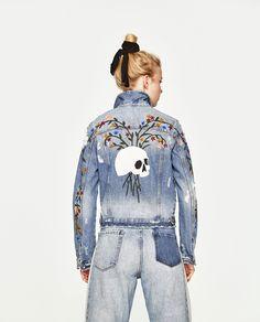 Image 5 of DENIM JACKET WITH SKULL PRINT from Zara