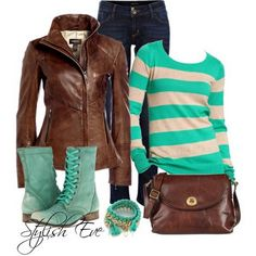 Actually have a vneck sweater of this! just need the jacket!  Jean Outfits for Women by Stylish Eve