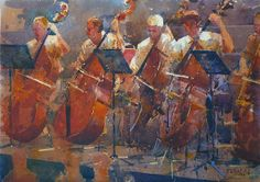Geoffrey Wynne Watercolour orchestra cellos + by acuarelista12, via Flickr