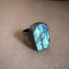Blue Fire Rough-Cut Labradorite & Oxidized Sterling Silver