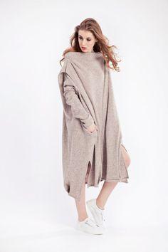 Oversized wool maxi dress winter dress by ATUKO on Etsy
