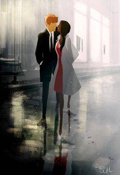 La derniere Seance by Pascal Campion on DeviantArt Image Couple, Couple Art, Pixiv Fantasia, Image Deco, Pascal Campion, Street Art, Couple Illustration, Interracial Love, Couple Cartoon