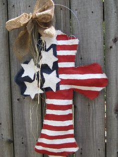 Burlap Cross Burlap Door Hanger American Flag with Stars.