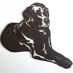 "Labrador Retriever metal wall art - 18"" wide - dog silhouette painted rusted steel - choose color"