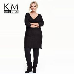 9c7f9deea5 Ichiemma 2017 Plus Size Solid Black Women Dress V-Neck Three Quarter Sleeve  Sexy Casual Midi Dress