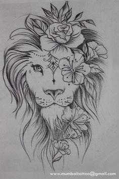 Beautiful lion drawing in the Mumbai Tattoo Piercing School. - What kind of . - Beautiful lion drawing in the Mumbai Tattoo Piercing School. – What a beautiful creative drawing - Leo Tattoos, Bild Tattoos, Tattoos Skull, Celtic Tattoos, Animal Tattoos, Body Art Tattoos, Sleeve Tattoos, Watch Tattoos, Tattoo Symbols