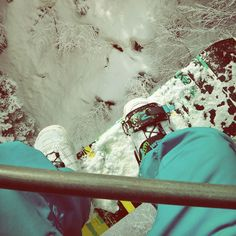 Going up for another run - snowboarding