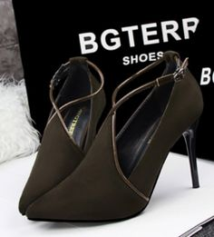 0c3fc59bf2 Lovely Cross Ankle Strap Point Toe Dress Heels Stylish Shoes For Women, Trendy  Womens Shoes