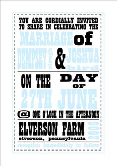 Turquoise and Black Playbill Invitation -- Cute for a Country Wedding - Any colors will do