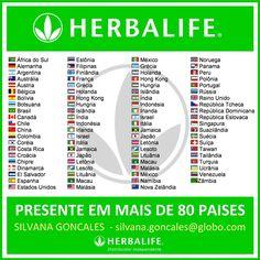 #Herbalife presente em mais de 80 Paises... Conheça a linha de produtos e o plano de negócios... #focoemvidasaudavel ... Info: https://www.facebook.com/silvana.costagoncales