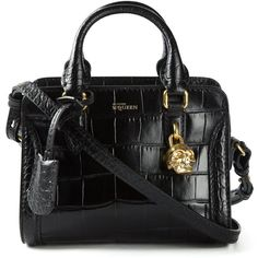 Alexander McQueen mini 'Padlock' tote ($1,625) ❤ liked on Polyvore featuring bags, handbags, tote bags, black, mini tote, black handbags, genuine leather tote, black purse and mini tote bag