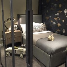 Reflection in the mirrored wardrobes of this little boys bedroom from Kids Bedroom, Bedroom Decor, Kids Rooms, Childrens Rooms, Bedroom Ideas, Cole And Son Wallpaper, Mirrored Wardrobe, Room Colors, Contemporary Interior