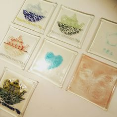 Last week's fused glass lesson haul: the students really enjoyed experimenting with hand painting, stamping and sponging and created a lovely selection of recycled glass coasters.