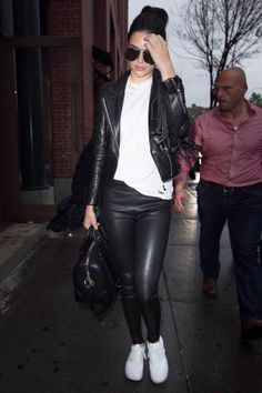 Kendall Jenner.. Nasty Gal Tee, Balenciaga Leggings, Barbara Bui Jacket, Nike Air Max Thea Sneakers, and Givenchy Bag..