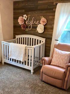 Paper flowers frame name above crib. Baby Room Design, Baby Room Decor, Wall Decor, Wall Art, Name Above Crib, Rose Wall, Baby Boys, Baby Girl Rooms, Baby Girl Nursery Themes