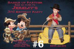 Minnie and Mickey Mouse Cowboy Western Photo Birthday Party Invitation | TreasuredInvitations - Digital Art  on ArtFire
