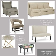 2015 Favorite Things - Upholstery | Che Bella Interiors Blog | Sofa, chair, ottoman, stool  http://www.chebellainteriors.com/blog/2014/12/2014-favorite-things/