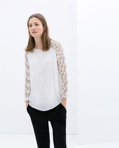 BLOUSE WITH GUIPUR SLEEVE - Shirts - WOMAN | ZARA United States