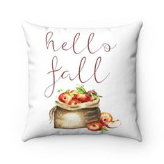Looking to decorate for Fall but don't want to spend a fortune or a ton of time? This Hello Fall pillow cover is the perfect Fall decor on a budget that's also easy as can be! It is the perfect way to decorate your porch and entryway for Fall, as well as any other space in your home such as the living room and bedroom. This fall pillow looks great with any home decor style from rustic or modern farmhouse, modern minimalist and even boho. Shop this and more perfect Fall Decor at Pine Flat… Personalized Pillows, Custom Pillows, Pillow Inserts, Pillow Covers, Modern Farmhouse Living Room Decor, Fall Pillows, Throw Pillows, Pillow Quotes, Hello Autumn