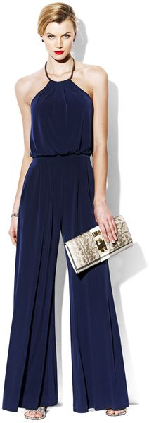 Jumpsuits:  i have a black jumpsuit similar to this one! great summer evening outfit!! Jumpsuit with Metal Neckline - Lyst