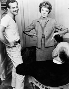 Paul Newman, Julie Andrews and Alfred Hitchcock on set of Torn Curtain, 1966.