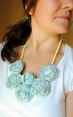 DIY Fabric Rosette necklace