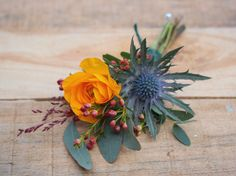 Ranunculus and eryngium thistle buttonhole with waxflower, eucalyptus and grasses by JennyFleur Wedding Color Schemes, Wedding Colors, Wedding Flowers, Home Wedding, Autumn Wedding, October Wedding, Wedding Ideas, Fall Bouquets, Bride Bouquets