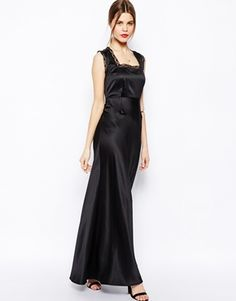 ASOS Satin Lace Trim Maxi Dress
