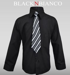 Boys Black Button Down Dress Shirt with Tie by Black n Bianco