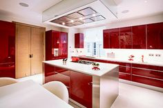 Ikea kitchen cabinets as entertainment center 2 3 high gloss kitchen cabinets kitchenaid food processor High Gloss Kitchen Cabinets, Two Tone Kitchen Cabinets, Contemporary Kitchen Cabinets, Contemporary Kitchen Design, Red Kitchen, Kitchen Cabinet Doors, Kitchen Countertops, Kitchen Modern, Glossy Kitchen