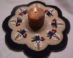 Snowman Mittens Penny Rug Candle Mat DIGITAL by pennylaneprims