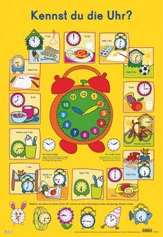 Mit diesem farbenfrohen Poster lernen Kinder spielend leicht den großen und den kleine Zeiger sowie die wichtigsten Uhrzeiten kennen. Die bunten Abbildungen verknüpfen verschiedene kindliche Tätigkeiten im Tagesablauf mit der passenden Uhrzeit. So präget sich der Nachwuchs diese Uhrzeiten kinderleicht ein.