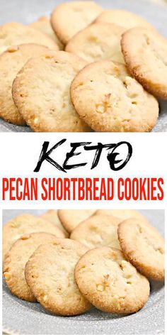 Keto Pecan Shortbread Cookies have never tasted so good! Easy and simple low carb recipe for the BEST keto pecan shortbread cookies. These low carb keto cookies are soft, chewy, shortbread lover's… Keto Cookies, Pecan Shortbread Cookies, Homemade Cookies, Chip Cookies, Cookie Diet, Homemade Desserts, Sugar Cookies, Low Carb Desserts, Low Carb Recipes
