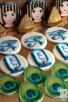 60 Ideas For Cookies Royal Icing Wedding Cupcake Toppers Fancy Cookies, Iced Cookies, Cute Cookies, Cupcake Cookies, Fondant Cupcakes, Egyptian Wedding, Egyptian Party, Egyptian Food, Egyptian Crafts