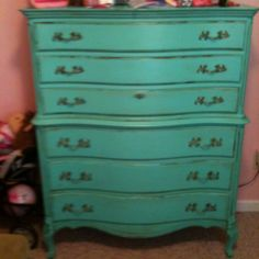 Tiffany Blue antiqued dresser for my daughters bedroom!
