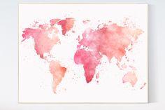 Watercolor World Map pink, nursery wall art, nursery Print Room Decor Kid Children toddler room decor, baby girl pink map, gift baby shower by LotusNurseryArt on Etsy https://www.etsy.com/listing/272452536/watercolor-world-map-pink-nursery-wall