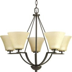 "View the Progress Lighting P4623 Bravo 5 Light 23"" Tall Chandelier with Etched Glass Shades at LightingDirect.com."