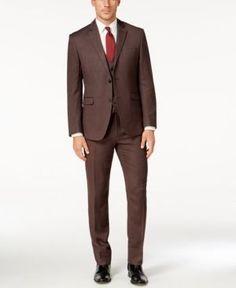 Perry Ellis Portfolio Men's Slim-Fit Brown Vested Suit - Brown 48S