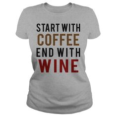 Coffee and Wine T-Shirts, Hoodies. VIEW DETAIL ==► https://www.sunfrog.com/Drinking/Coffee-and-Wine-Sports-Grey-Ladies.html?id=41382
