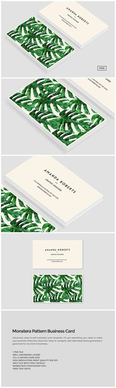 Monstera Pattern Business Card Introducing our latest Monstera Pattern business card template, perfect for use in your next project or for your own brand identity. All our logo desi... https://creativemarket.com/MeeraG/509777-Monstera-Pattern-Business-Card: