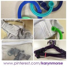 Use toy chain links and mesh bags for laundry. Close snaps on bras before washing, then use a chain link to hang it. Sorting small socks into bags is a pretty standard practice. The final tip is to hold hangers together using a link. Both of these items are low cost and have flexible uses.