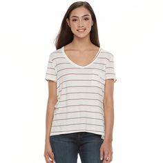 Juniors' SO® Relaxed Pocket Tee, Teens, Size: Medium, White
