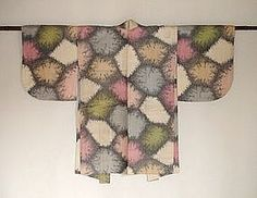 "Japanese Vintage Textile Meisen Haori Smoky Stonewall. his is a silk meisen haori ( jacket ). Meisen textile is a kind of pongee silk which is machine woven and has kasuri ( ikat ) pattern. Meisen kimono was very popular among young women as a casual kimono between 1920s and 1950s and many of them have eye-catching bold and contemporary design. Mid Showa period ( ca. 1940s~50s ). In excellent condition. 126cm x 87cm 49.6"" x 34.3"""