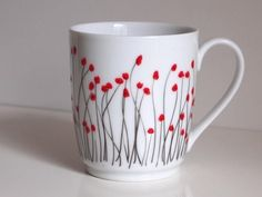 hand painted porcelain mug made of Limoges porcelain poppy pattern tea lover gift coffee set mug set limoge france french decor mug poppies - This mug is made exclusively in France. Real Limoges porcelain, hand-painted by me. His motif is fl - Pottery Painting Designs, Pottery Designs, Mug Designs, China Painting, Ceramic Painting, Painted Mugs, Hand Painted, Poppy Pattern, Porcelain Ceramics