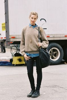 Model Bridget Malcolm. Street Style from New York Fashion Week AW 2013