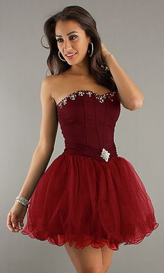 Strapless Corset Top Short Dress at PromGirl.com