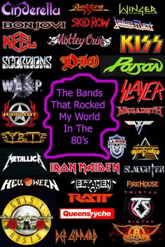 metals bands Reminds me not only of music, but a classmate in grade always writing heavy metal bands on my notebooks etc. 80s Metal Bands, Hair Metal Bands, 80s Rock Bands, 80s Hair Bands, 1980s Bands, Kinds Of Music, Music Is Life, Rock Logos, El Rock And Roll