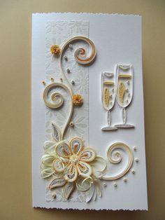 Svatební karty, Gold výročí blahopřání, narozeninám, Paper Art blahopřání, Romantic Gift Card Paper