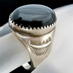 Sterling Silver Ring Black Onyx Large Gemstone Mens Size 10 Heavy Estate Vintage
