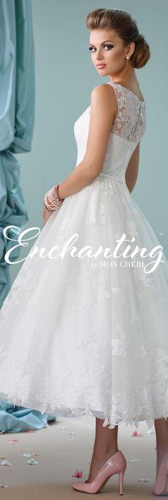 Enchanting by Mon Cheri Spring 2016 ~Style No. 116136 #shortlaceweddingdress
